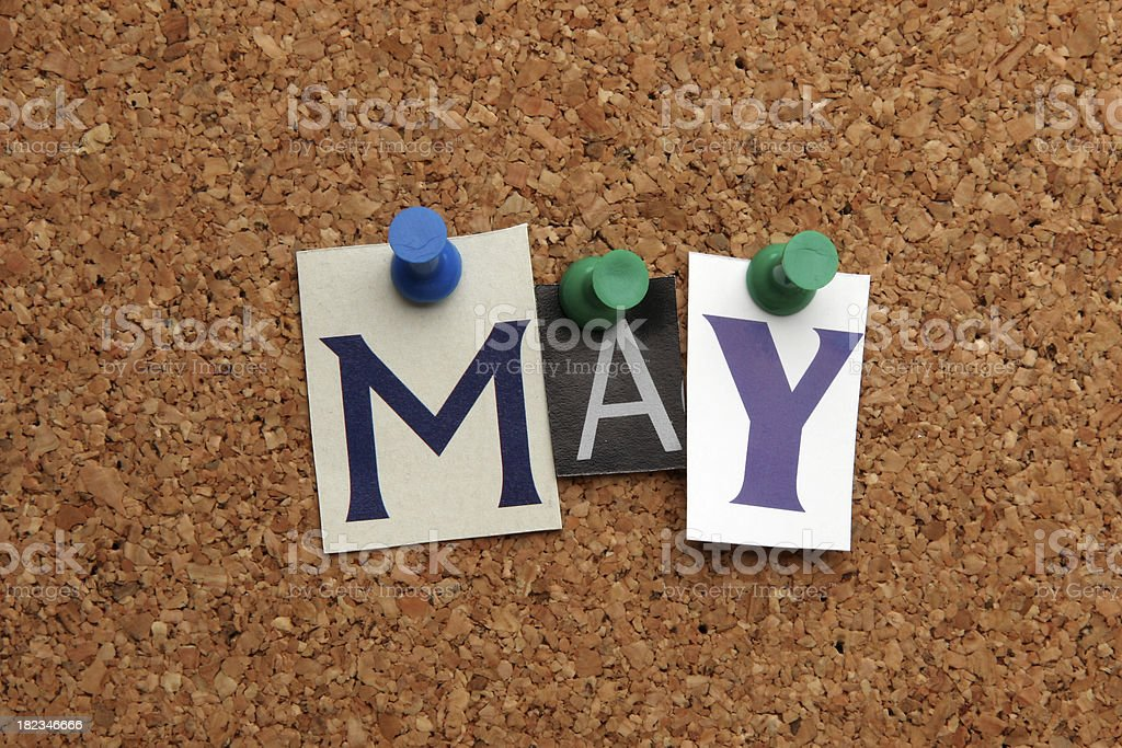 May pinned on noticeboard stock photo