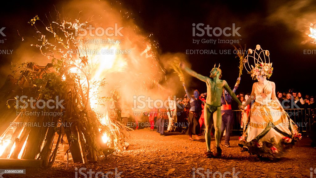 May Queen and Green Man at the Beltane Fire Festival stock photo