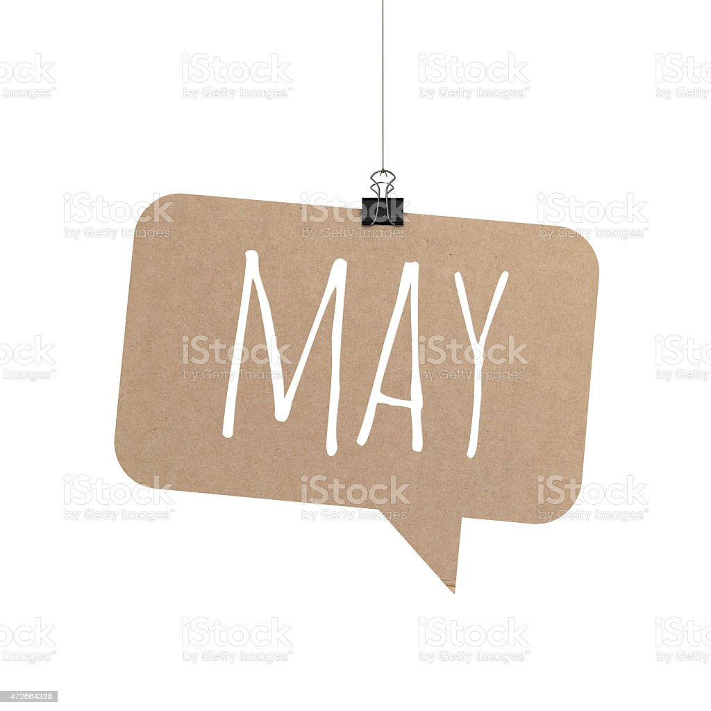 May speech bubble hanging on a string stock photo