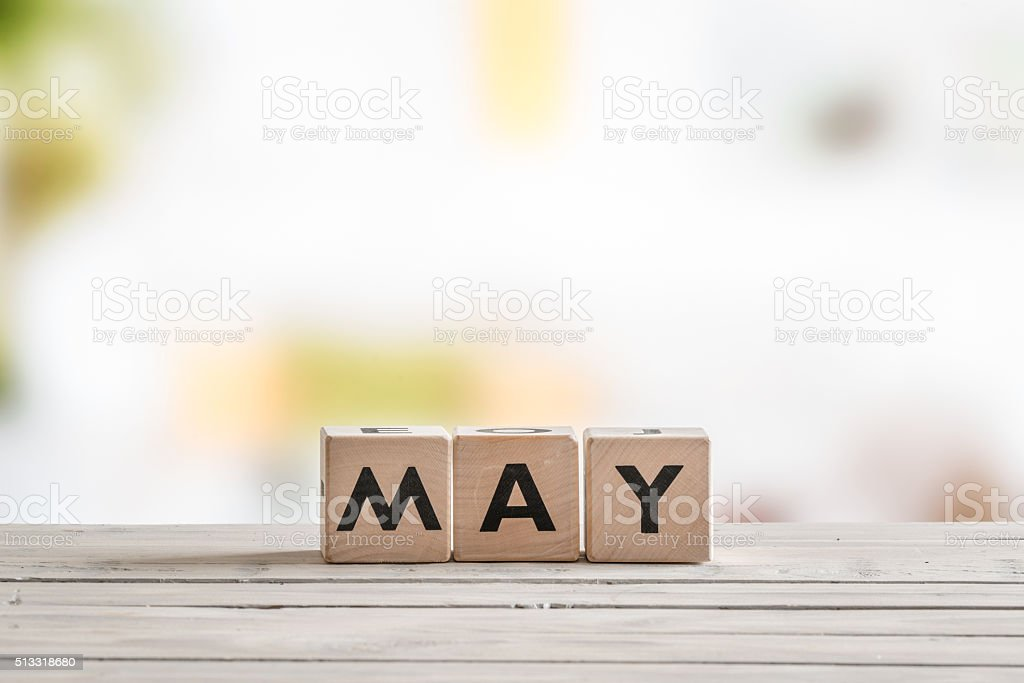 May word on wooden sign stock photo