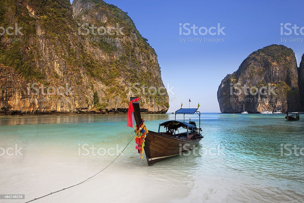 Maya bay, Krabi, The most beautiful beach in Thailand stock photo