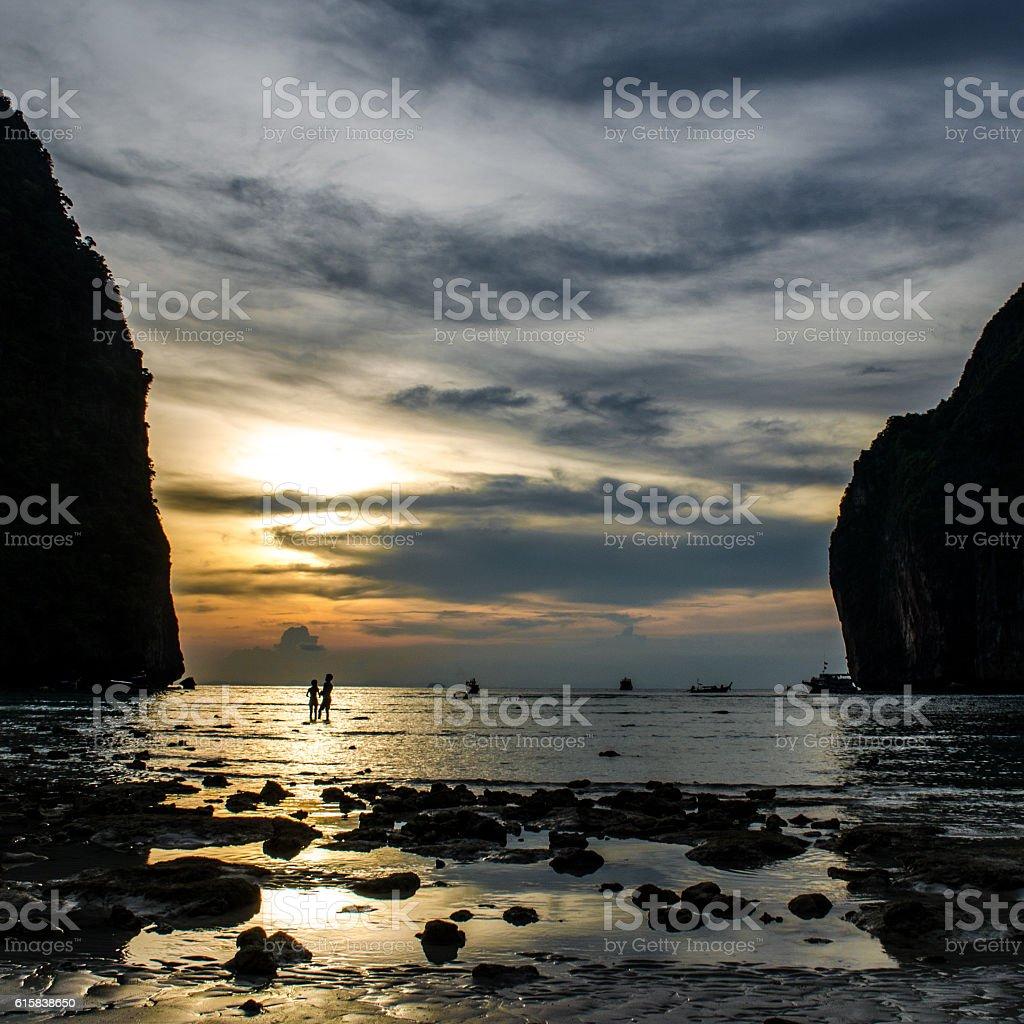 Maya Bay Sunset stock photo