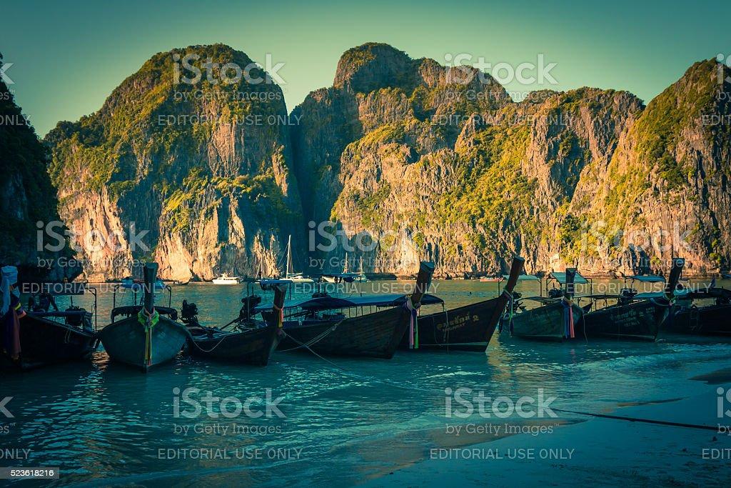 Maya Bay,Thailand-December 9,2013:Traditional Thai longtail boa stock photo