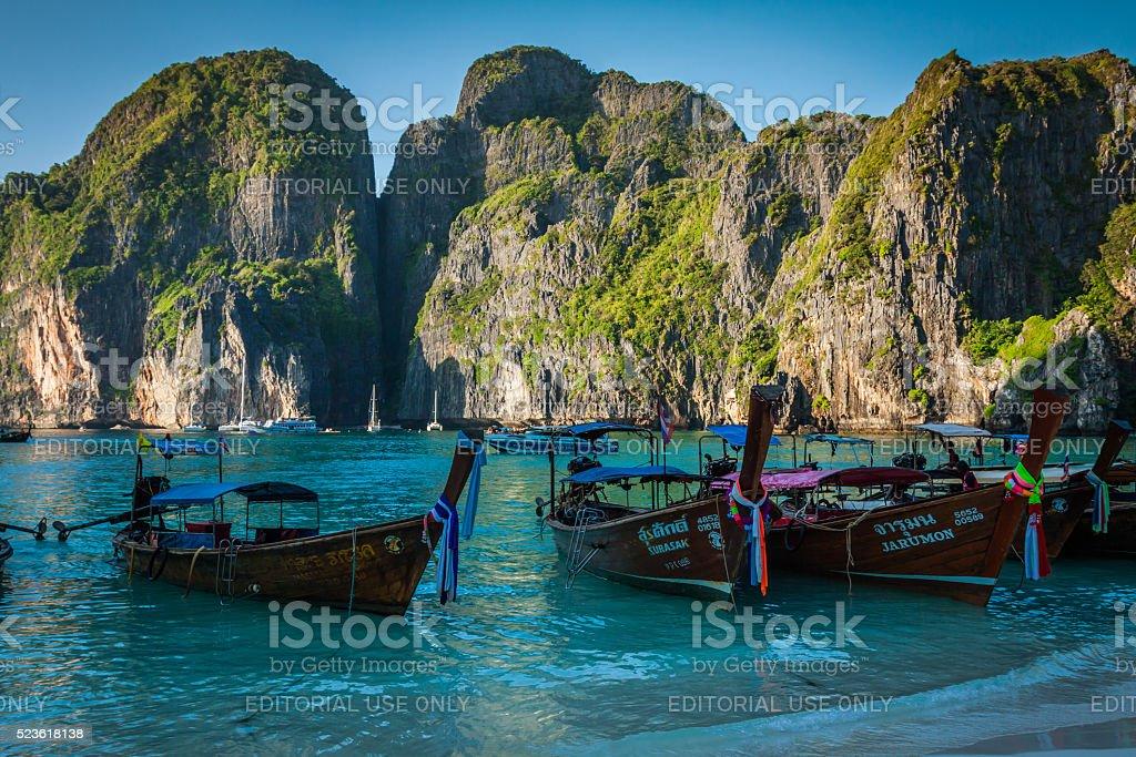 Maya Bay,Thailand-December 9,2013:Traditional Thai longtail boats stock photo