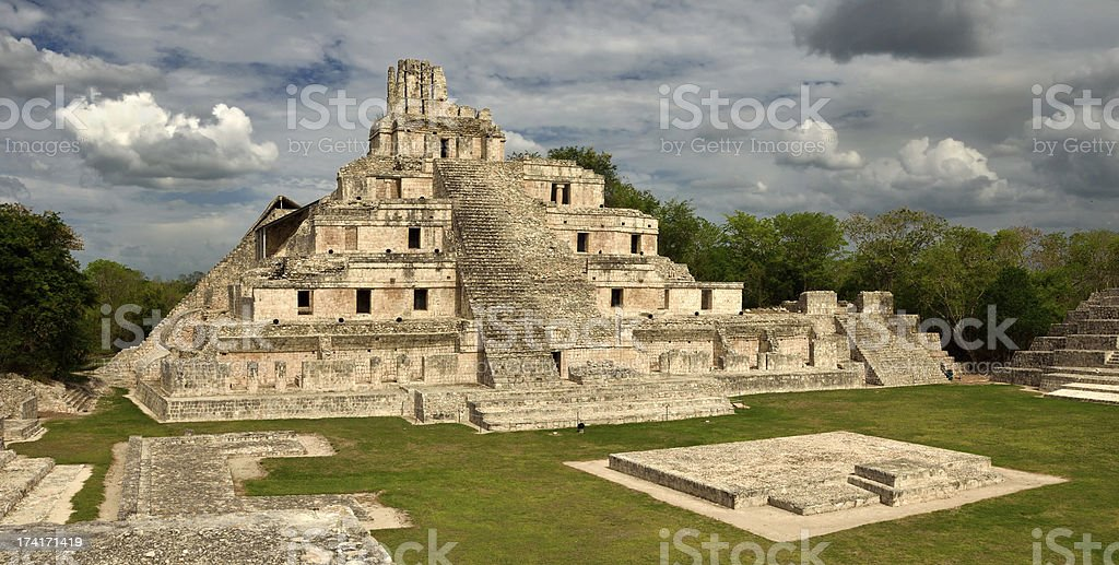 Maya Edzna complex, the Temple five floors royalty-free stock photo