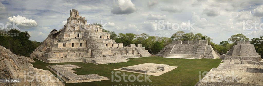 Maya Edzna complex, the Temple five floors. Yucatan, Campeche, M stock photo