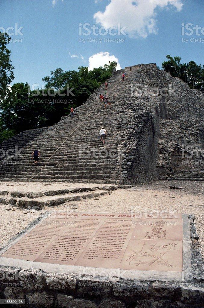 Maya Pyramid in Coba (Yucatan) stock photo