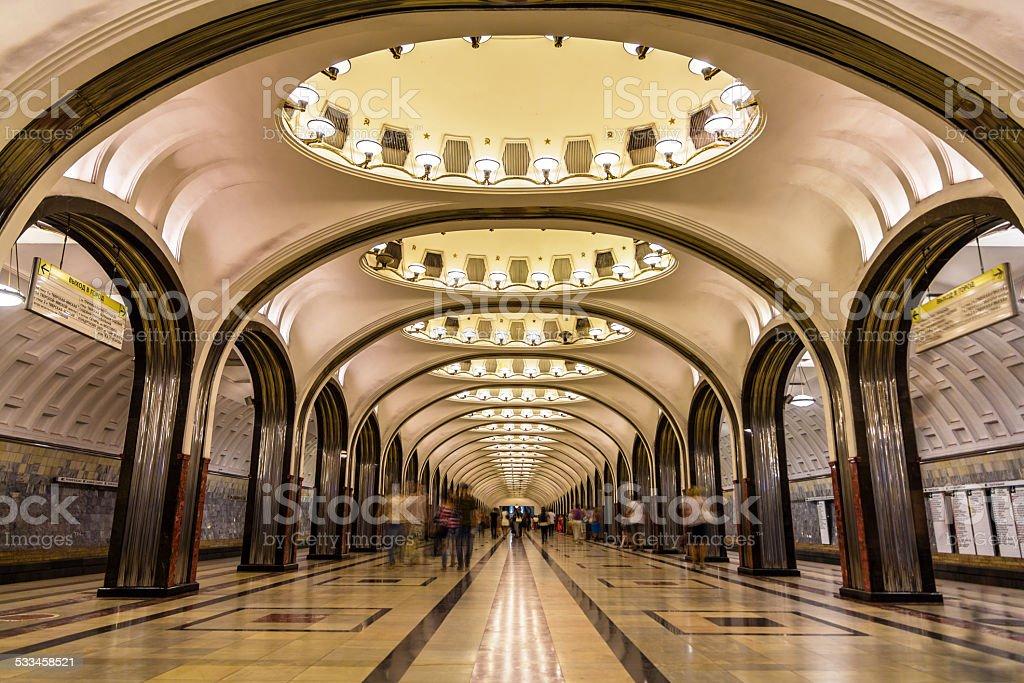 Mayakovskaya metro station in Moscow, Russia stock photo