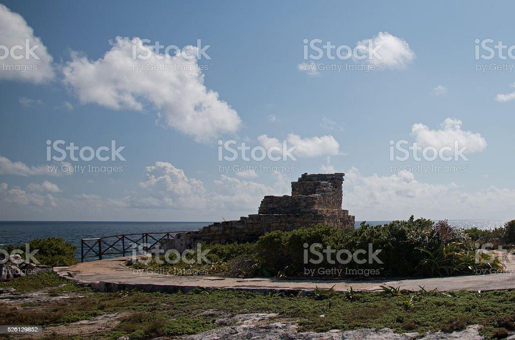 Mayan Altar / Temple Walkway on Isla Mujeres Mexico stock photo