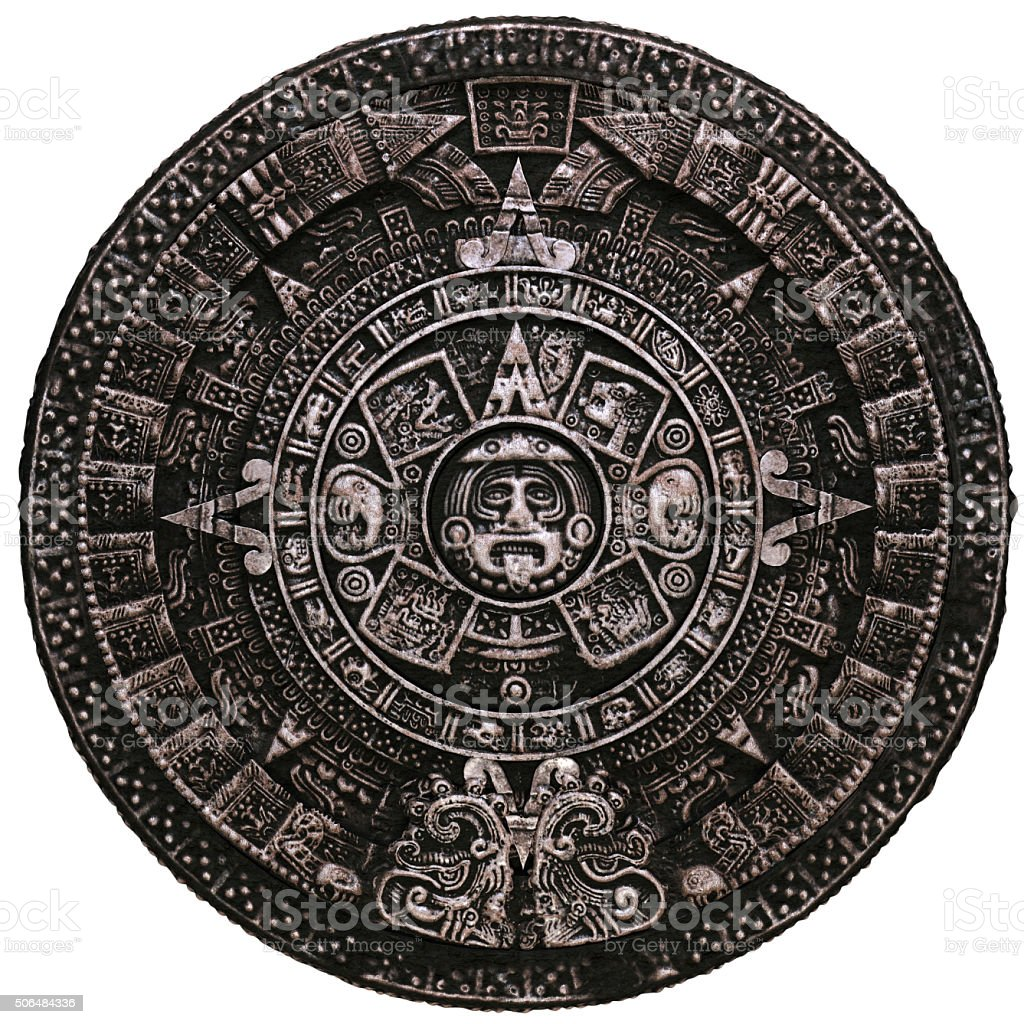 Mayan calendar on white background stock photo