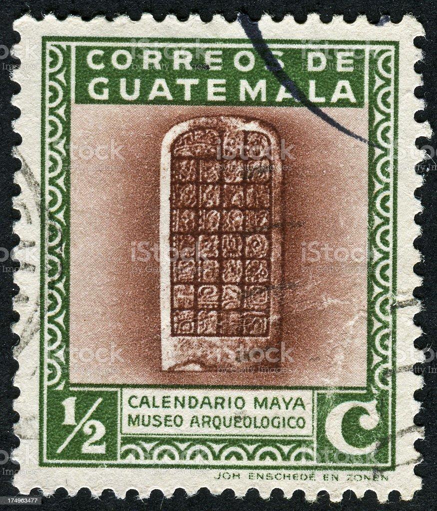 Mayan Calendar Stamp stock photo