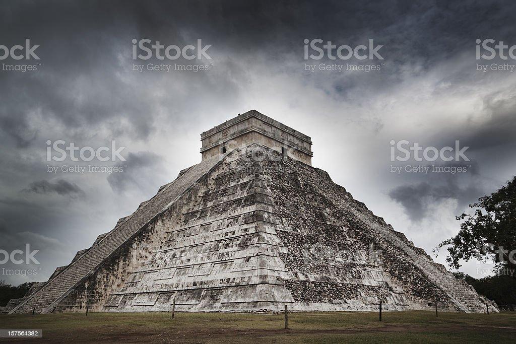 Mayan Chichen Itza Ancient Pyramid Temple Ruin of Yucatan Mexico stock photo