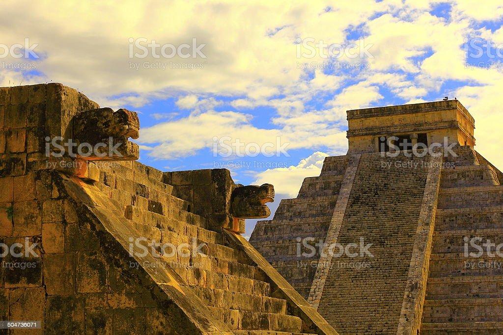 Mayan Chichen Itza Pyramid and Platform sunset - Mexico stock photo
