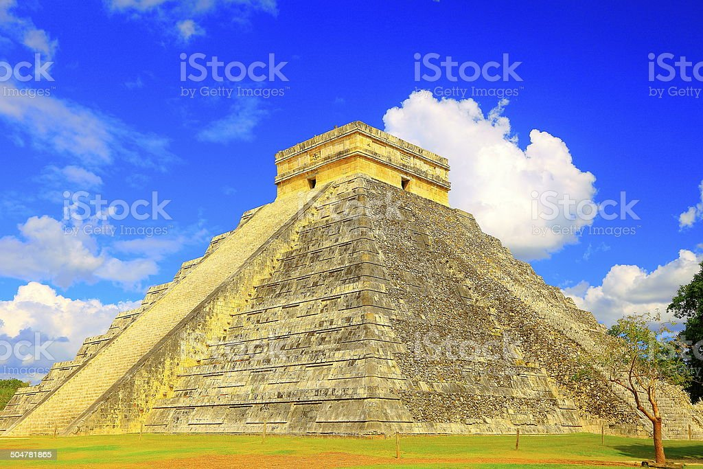 Mayan Chichen itza pyramid low angle at sunrise, Yucatan, Mexico stock photo