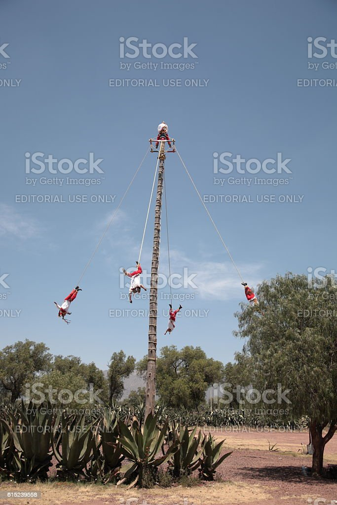 Mayan Flying Pole Dance at Teotihuacan, Mexico stock photo