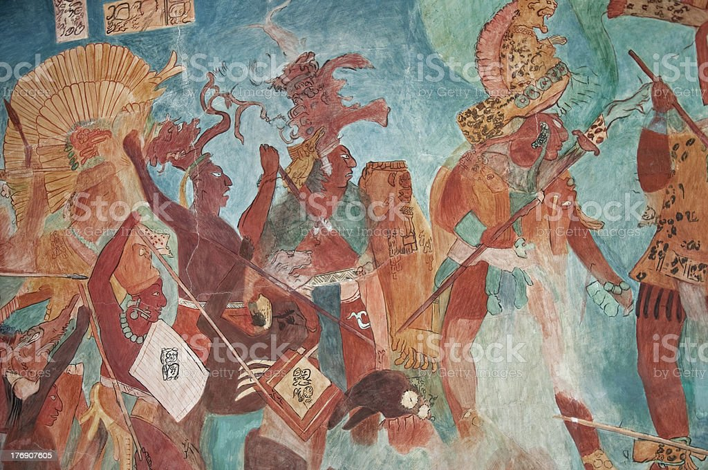 Mayan Mural Painting from Bonampak 02 stock photo