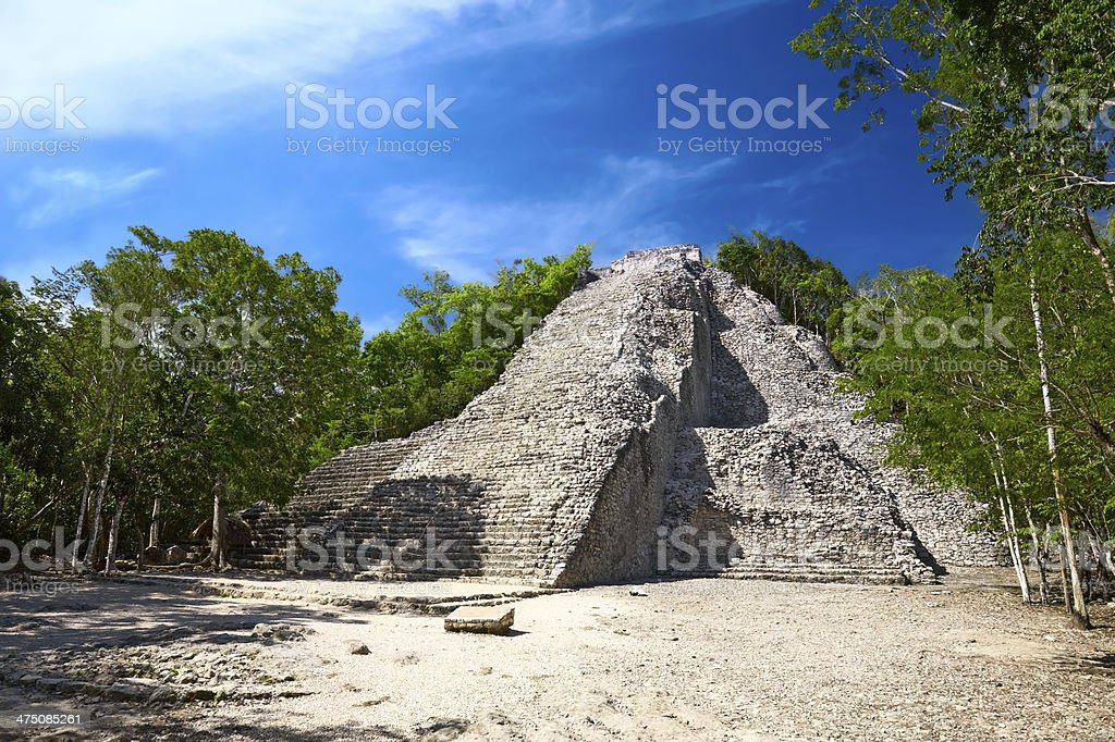 Mayan Nohoch Mul pyramid in Coba, Mexico stock photo
