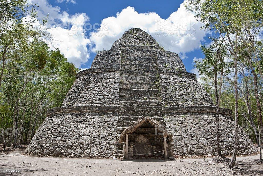 Mayan Nohoch Mul pyramid in Coba. stock photo