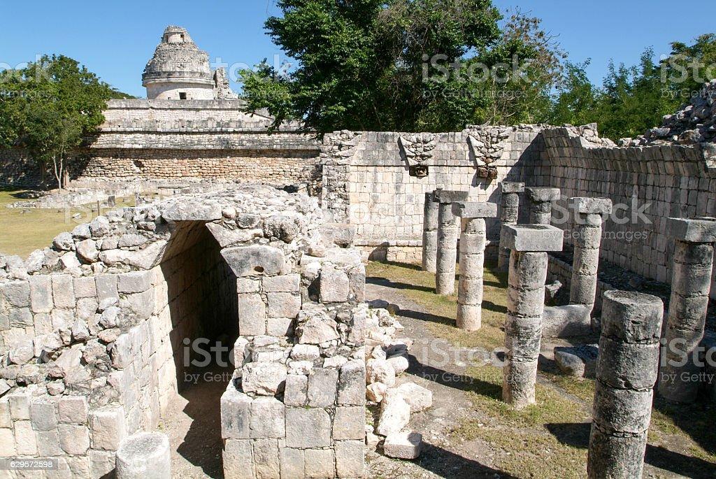 Mayan observatory ruin at Chichen Itza stock photo