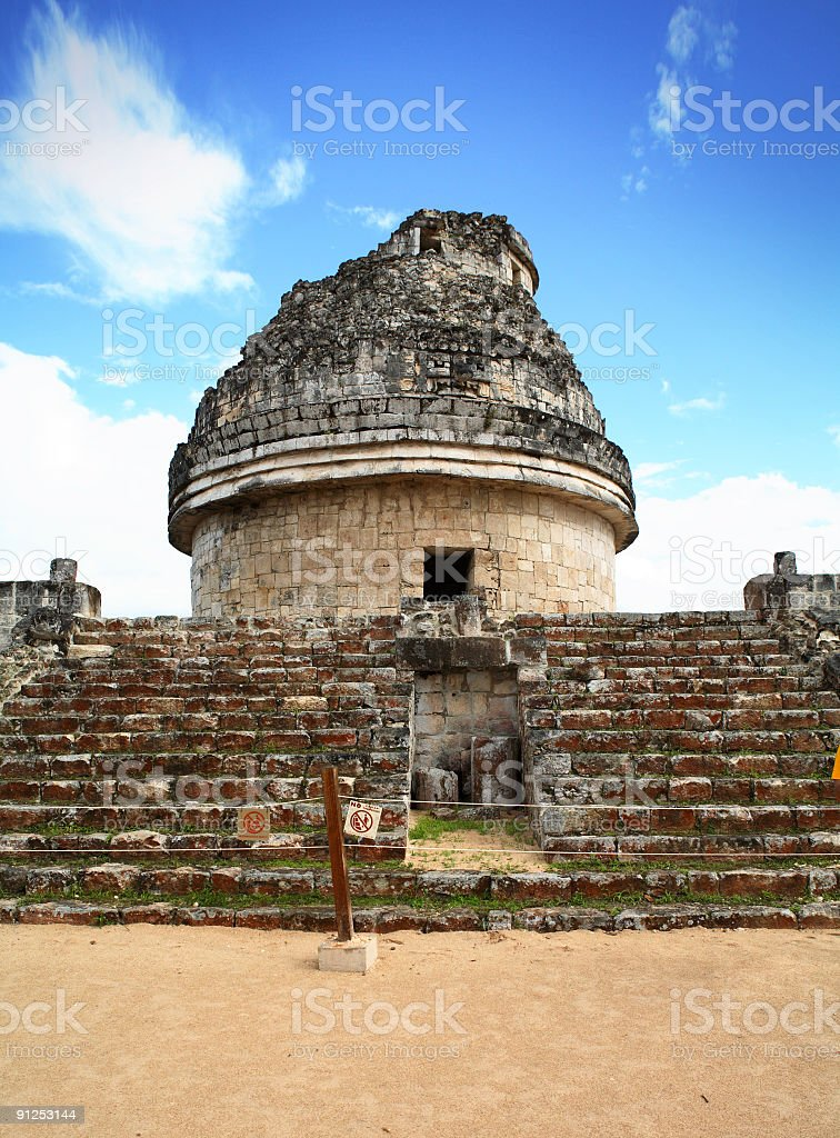Mayan observatory ruin stock photo