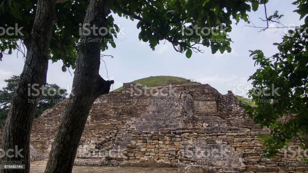 Mayan piramid seen from a distance stock photo