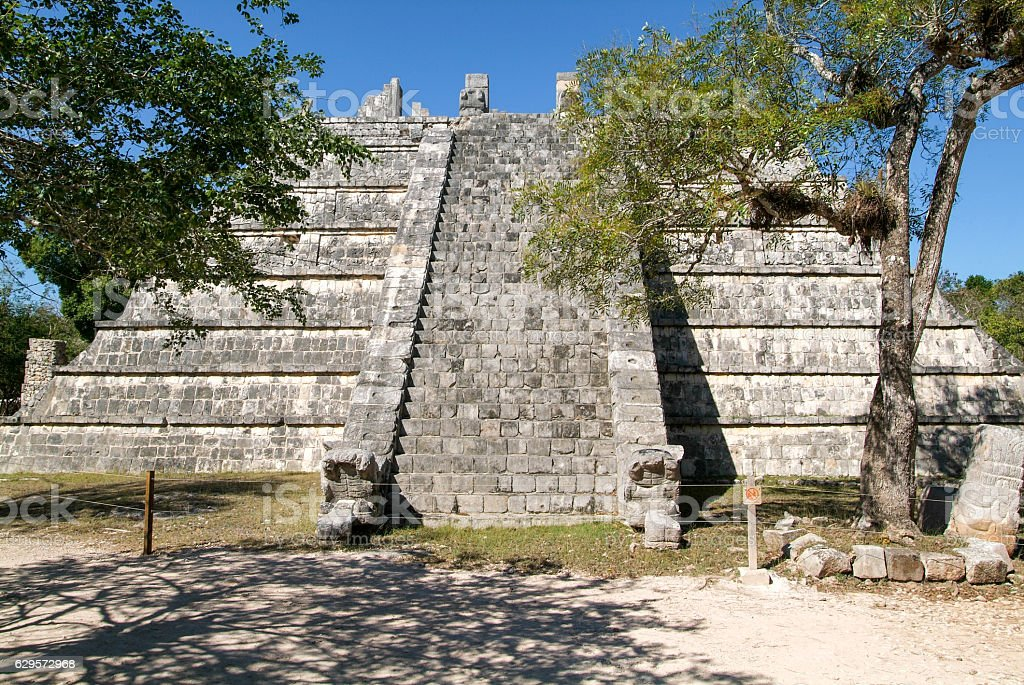 Mayan pyramid at the archaeological site of Chichen Itza stock photo