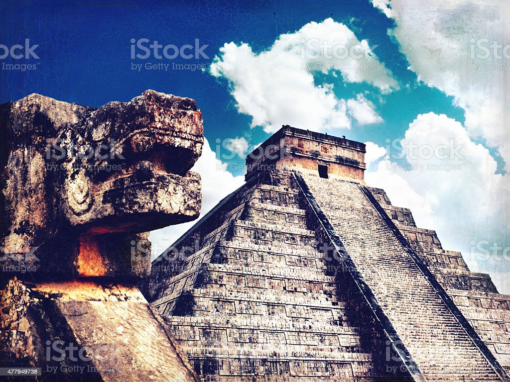 Mayan pyramid Chichen-Itza with Sacred Snake. Retro style stock photo