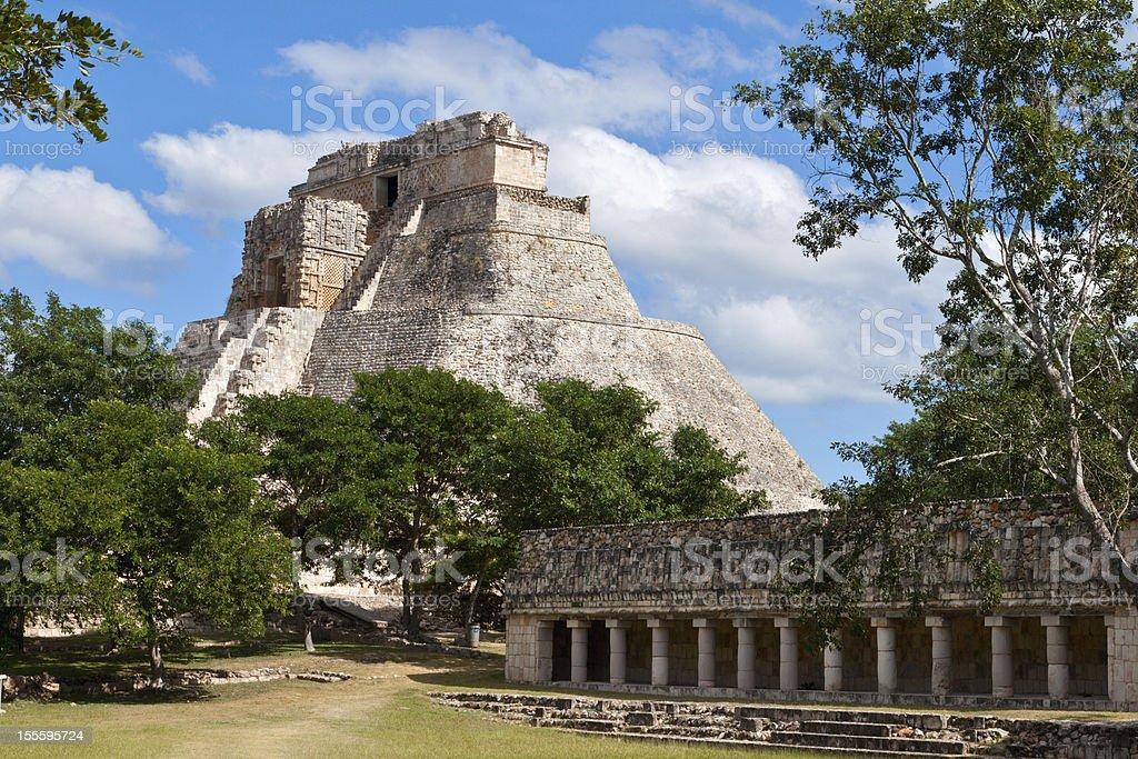 Mayan pyramid (Pyramid of the Magician, Adivino) in Uxmal, Mexic stock photo