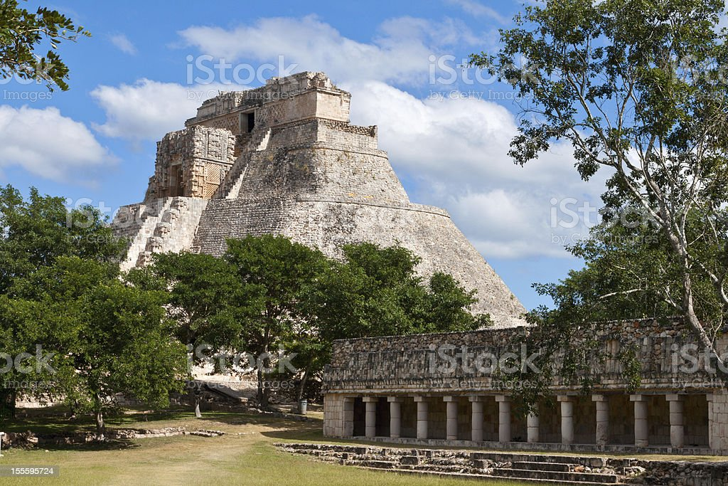 Mayan pyramid (Pyramid of the Magician, Adivino) in Uxmal, Mexic stock photo