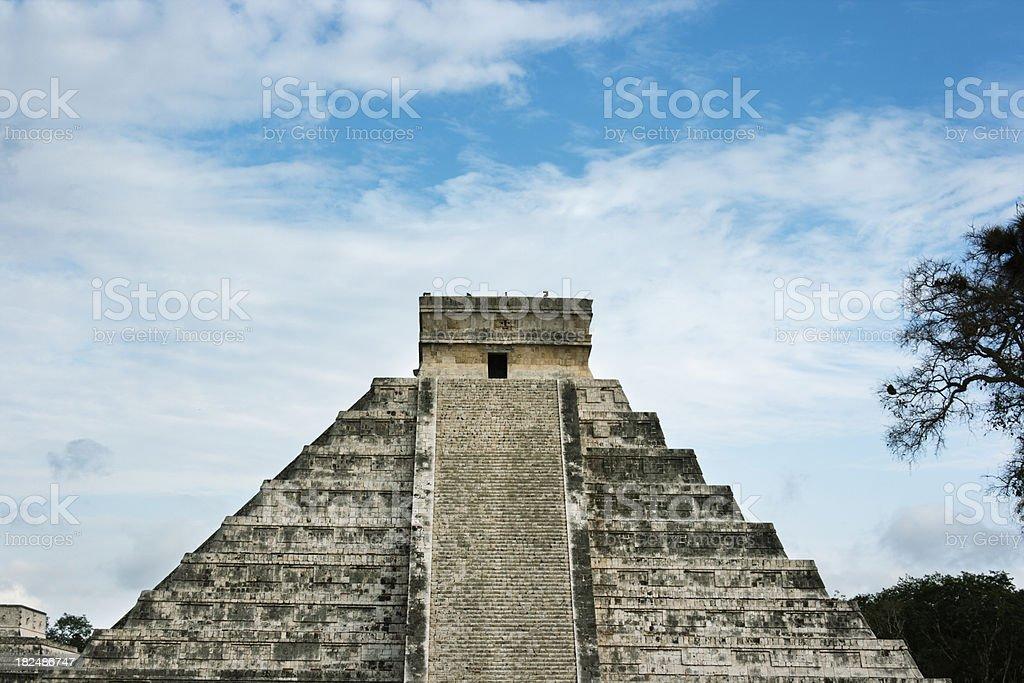 Mayan Pyramid Steps, Straight-on Facade, Chichen Itza, Yucatan, Mexico royalty-free stock photo