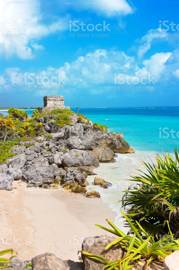Mayan Ruin and the Beach of Tulum stock photo
