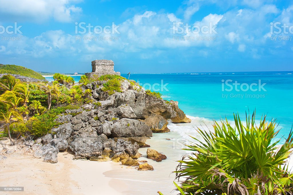 Mayan Ruin and the Beach of Tulum stock photo