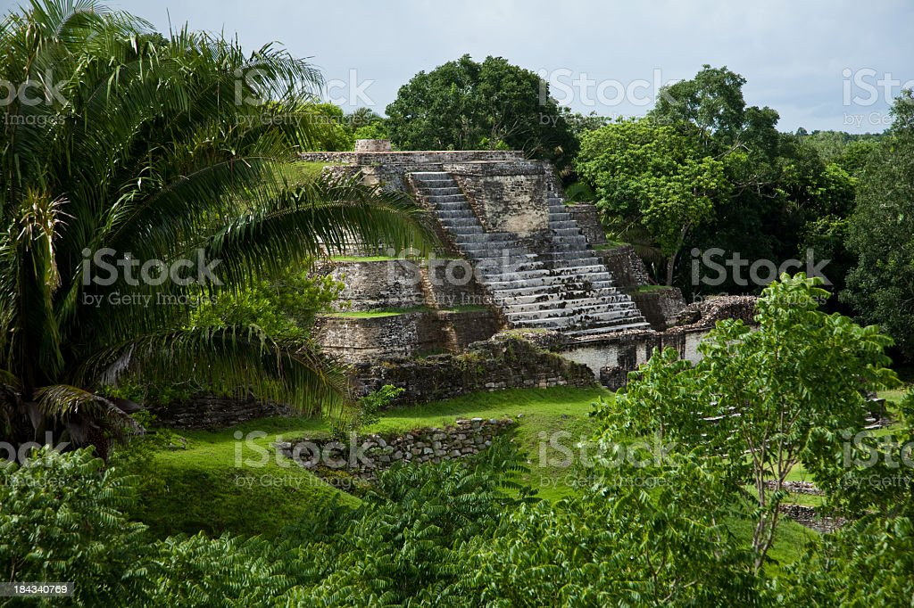 Mayan ruins deep in the jungle stock photo