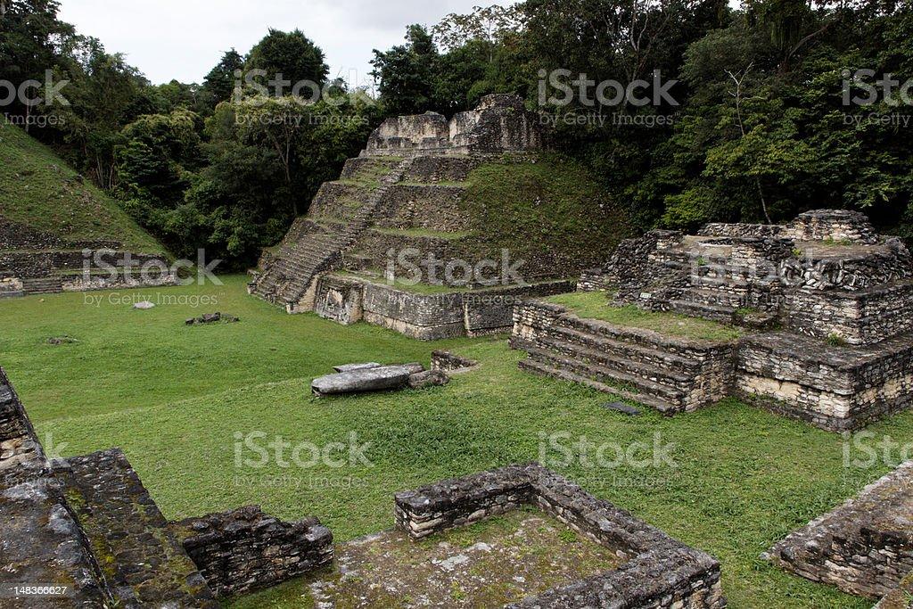 Mayan ruins in caracol stock photo