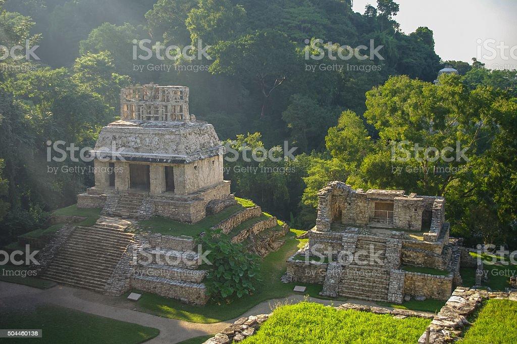 Mayan ruins in Palenque, Chiapas, Mexico. stock photo