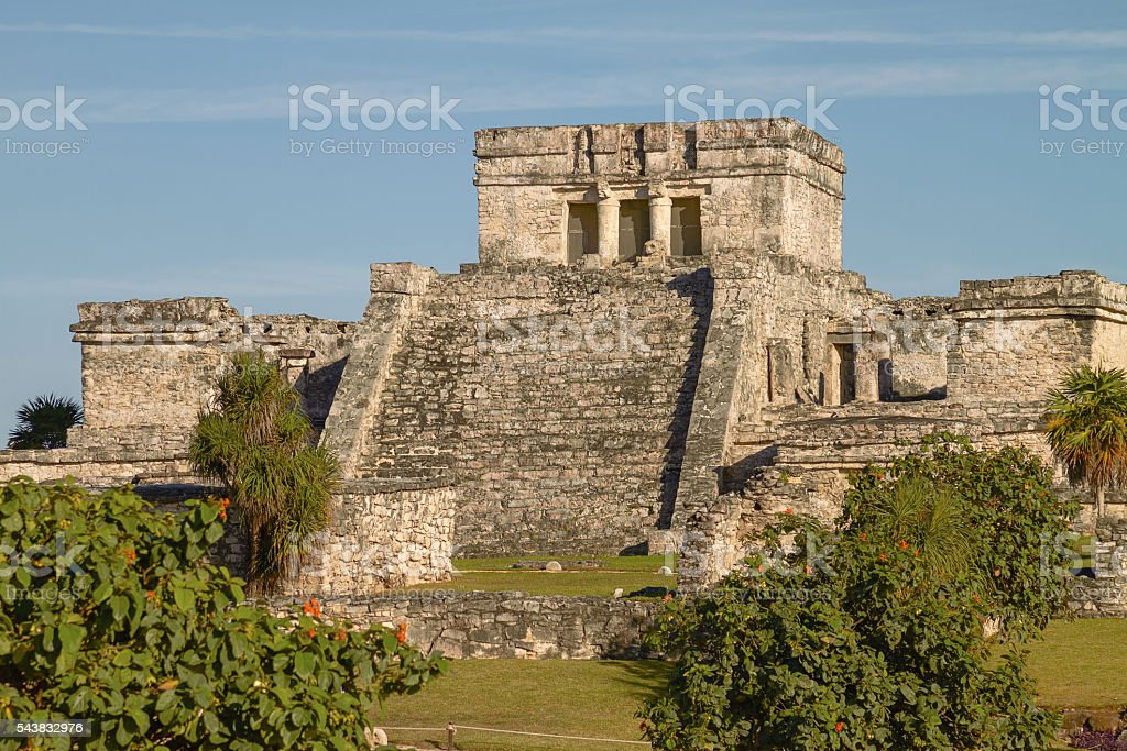 Mayan Ruins of Temple in Tulum Mexico stock photo