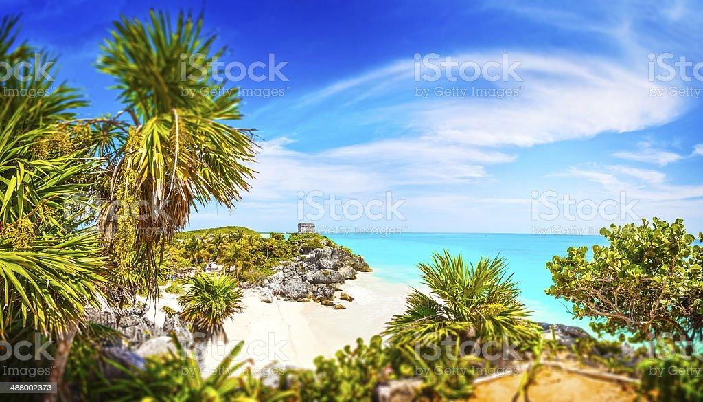 Mayan Ruins. Tulum Beach. Caribbean Paradise stock photo
