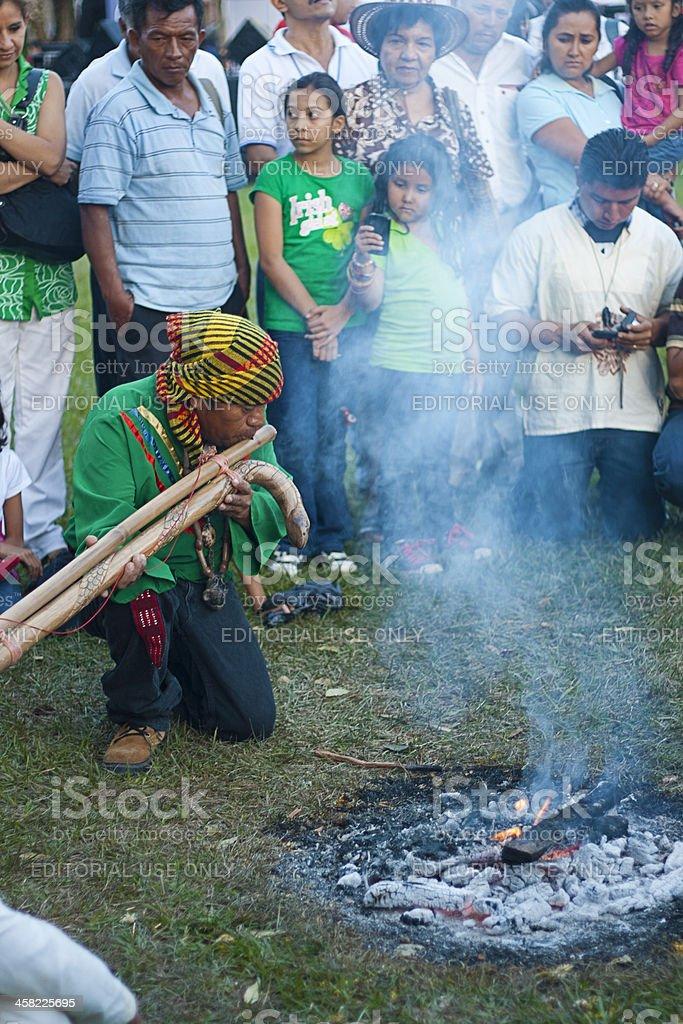 Mayan shaman in a rite stock photo