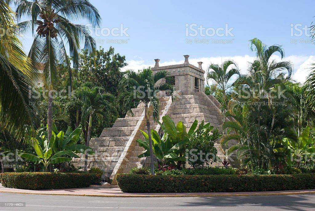 Mayan style pyramid fountain stock photo