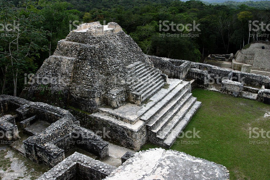 Mayan Temple, Caracol, Belize royalty-free stock photo