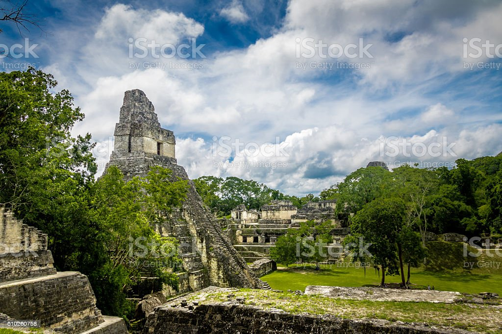 Mayan Temple I (Gran Jaguar) at Tikal - Guatemala stock photo