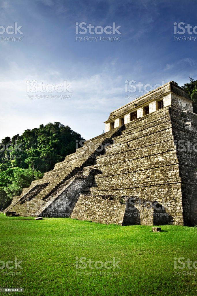 Mayan Temple in Mexico on Sunny Day with Blue Sky stock photo