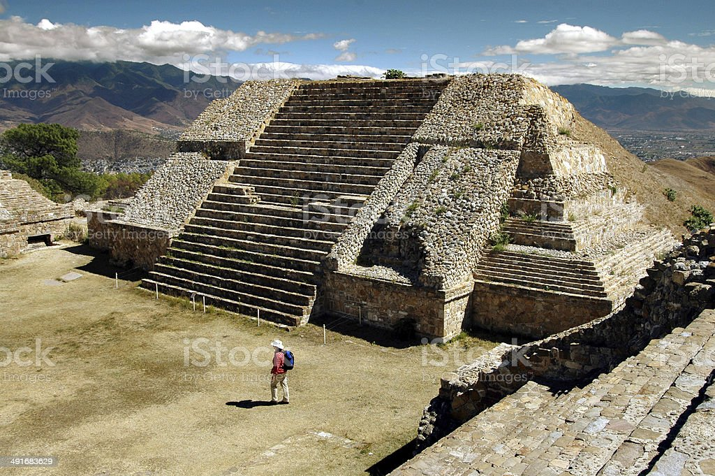 Mayan temple, Monte Alban, Oaxaca, Mexico stock photo