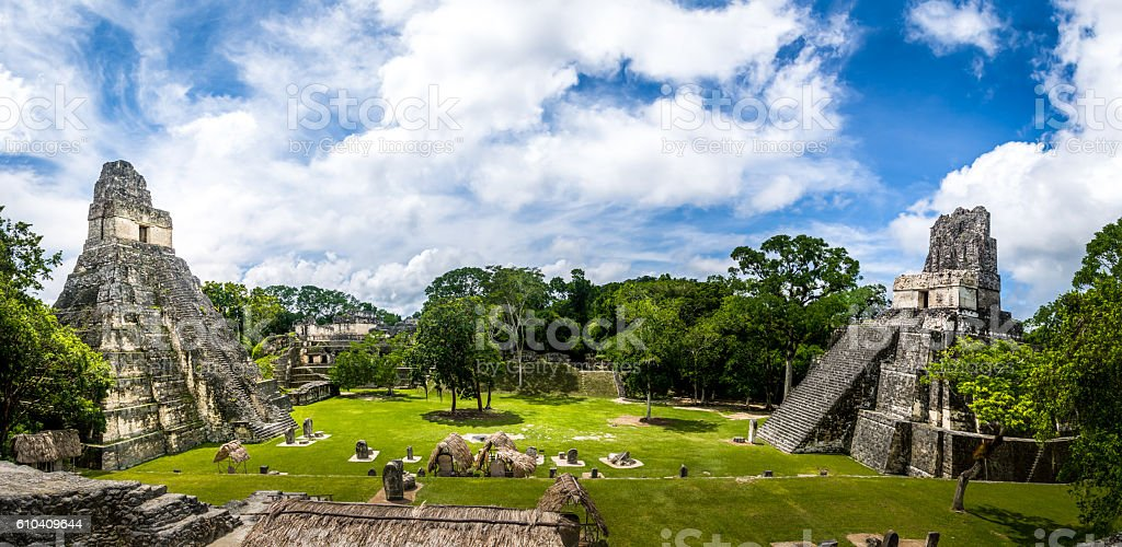 Mayan Temples at Tikal National Park - Guatemala stock photo