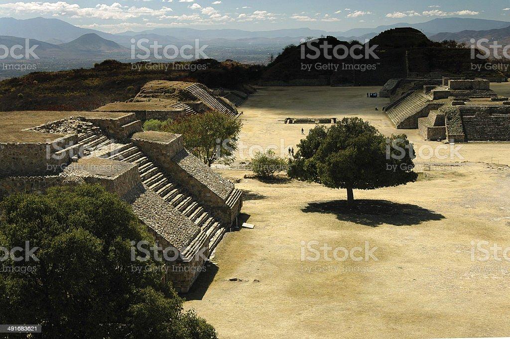 Mayan temples of Monte Alban, near Oaxaca, Mexico stock photo