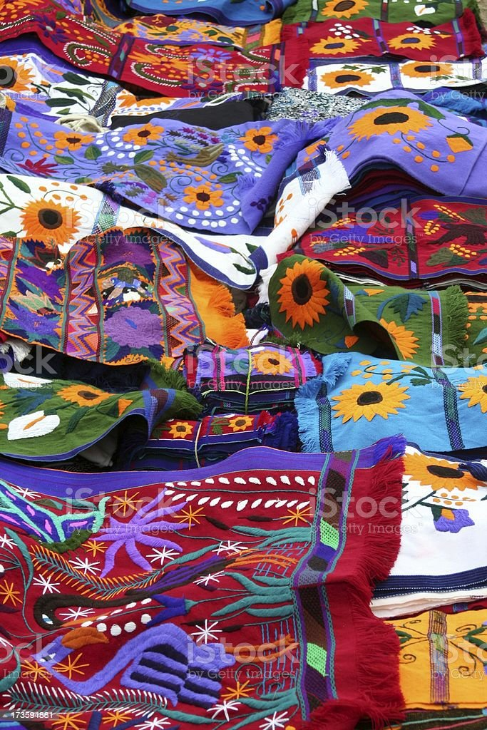 Mayan textile market stock photo