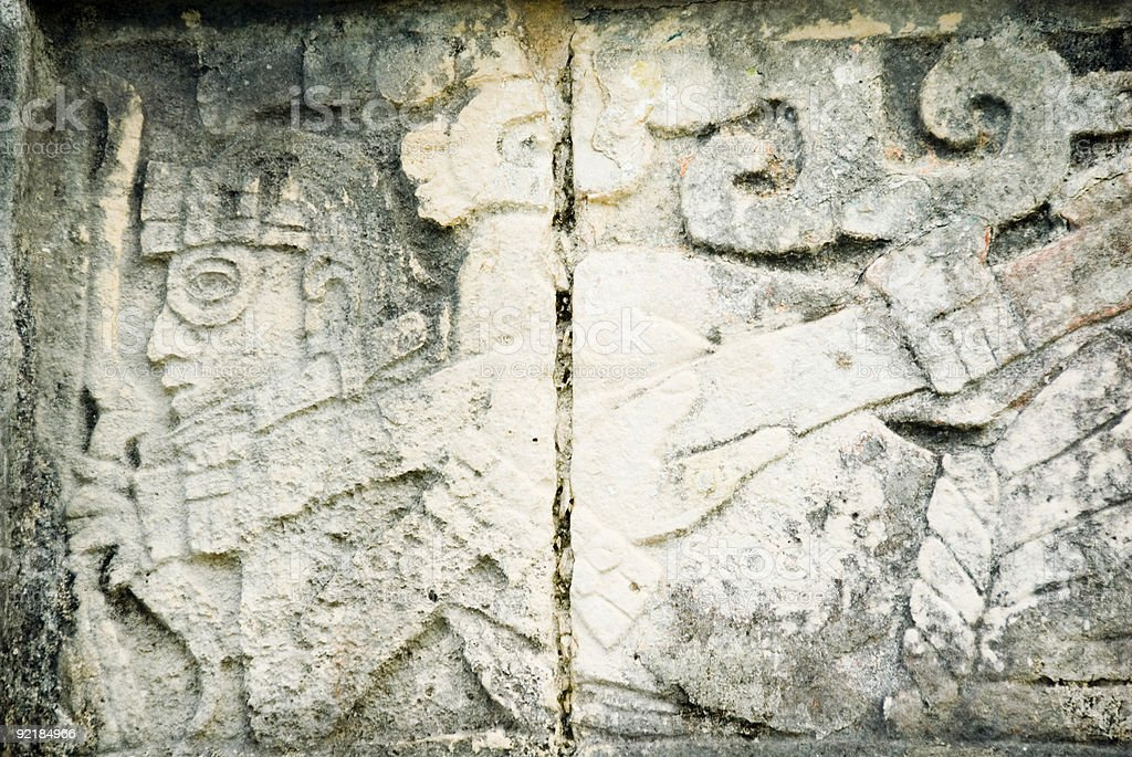 Mayan Warrior Carving, Chitchen Itza stock photo