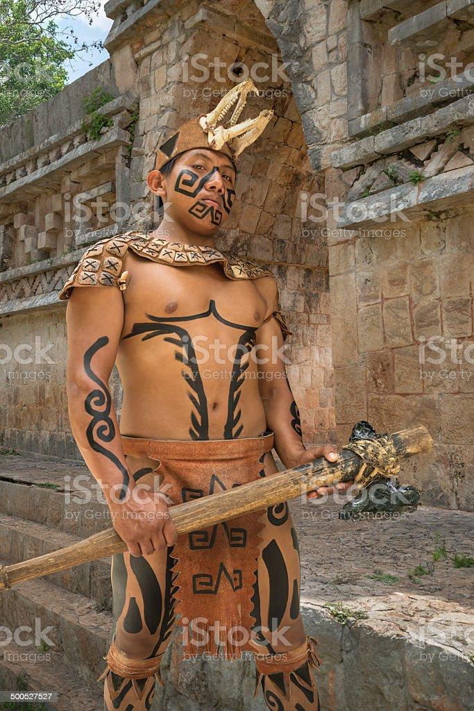 Mayan warrior in Yucatan, Mexico stock photo