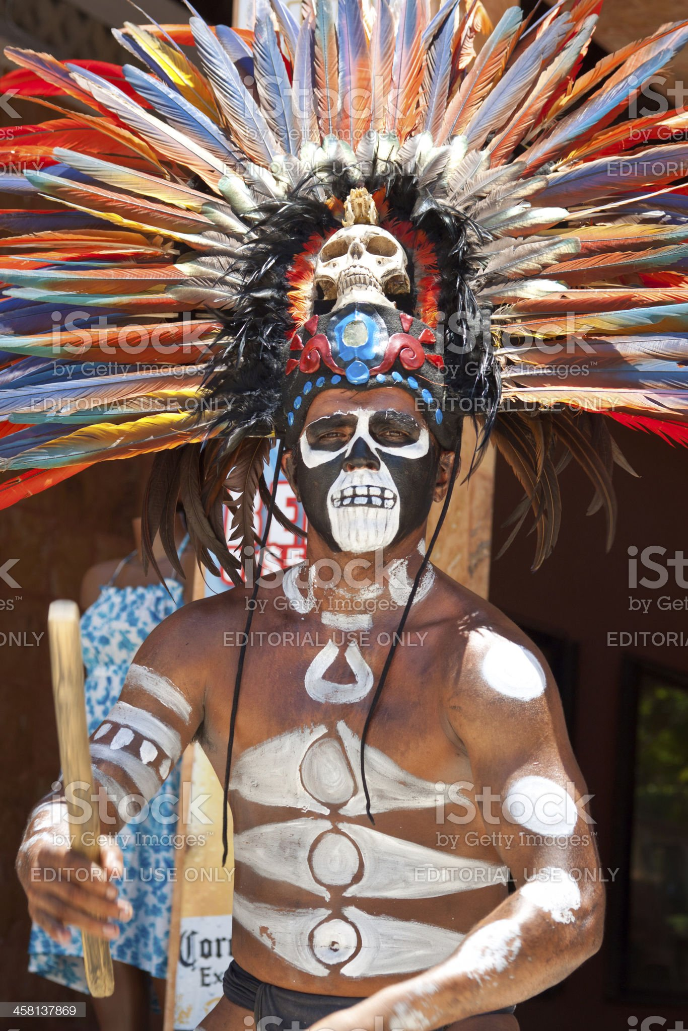 Mayan warrior with drum royalty-free stock photo