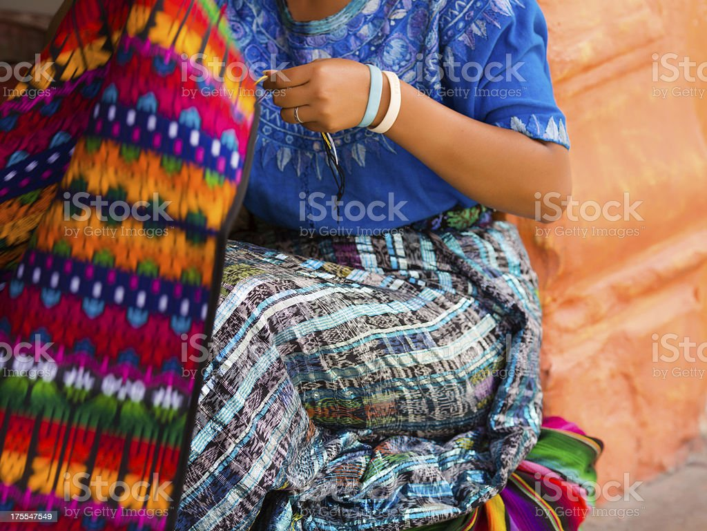 mayan woman weaving on loom stock photo